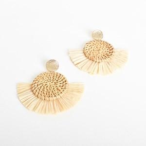 Weave Disc Raffia Edge Earrings