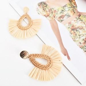 Almond Raffia Edge Earrings