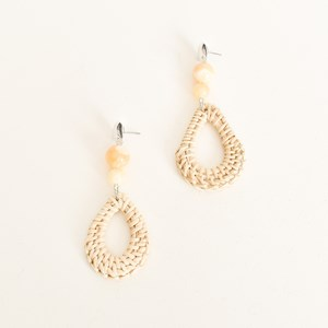 Bead Centre Rattan Drop Earrings