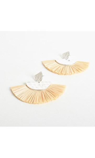 Mini Beaten Raffia Fringe Earrings