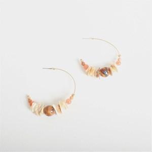 Stone Bead Hoop Earrings