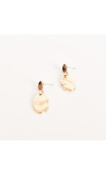 Hide Top Mini Beaten Drop Earrings