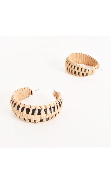 Two Tone Weave Curved Hoop Earring