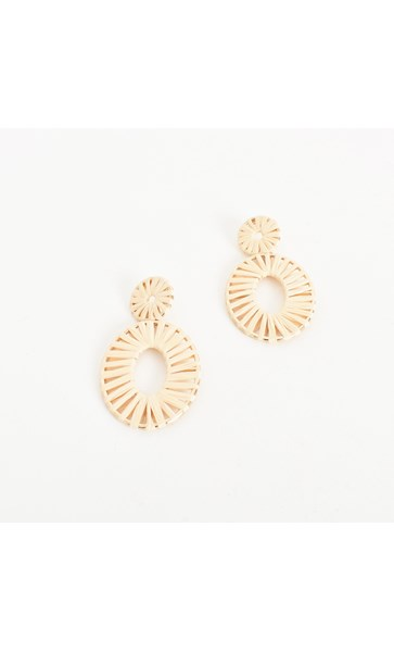 Open Looped Weave Oval Drop Earring
