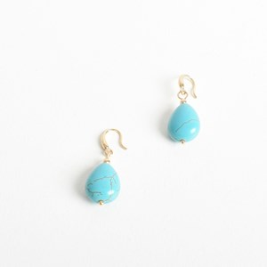 Stone Drop Hook Earrings