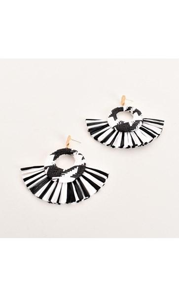 Contrast Weave Fringe Earrings