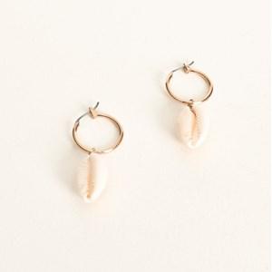 Cowry Shell Charm Mini Hoop Earring