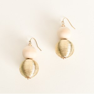Timber & Metallic Ball Drop Earring