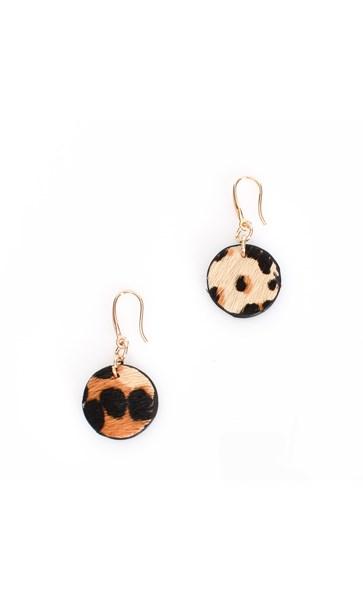 Hide Disc Drop Hook Earrings