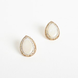 Diamante Edge Almond Pearl Earrings