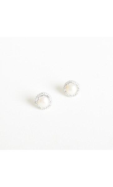 Pearl Diamante Edge Stud Earrings