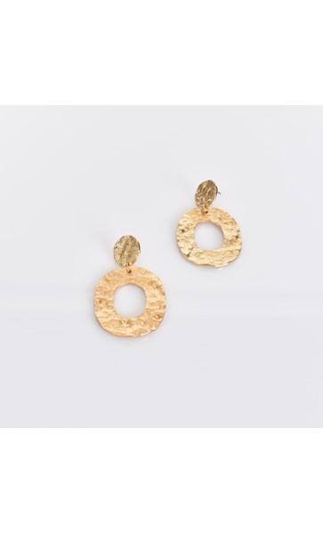 Textured Metal Oval Drop Earrings