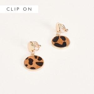 Metal Button Hide Disc Clip On Earrings