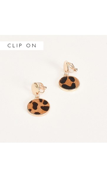 Metal Button Hide Disc Clip On Earrings
