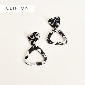 Tri Shapes Resin Clip On Earrings