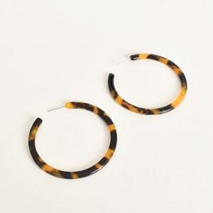Fine Flat Midi Resin Hoop Earrings