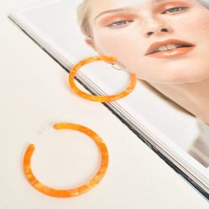 Fine Flat Midi Resin Hoop Earrings