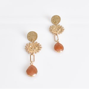 Moulded Metal Stone Drop Earrings