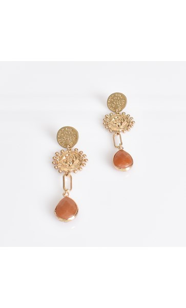 Moulded Metal Stone Drop Earrings