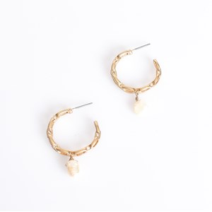 Mini Chain Pearl Drop Hoop Earrings