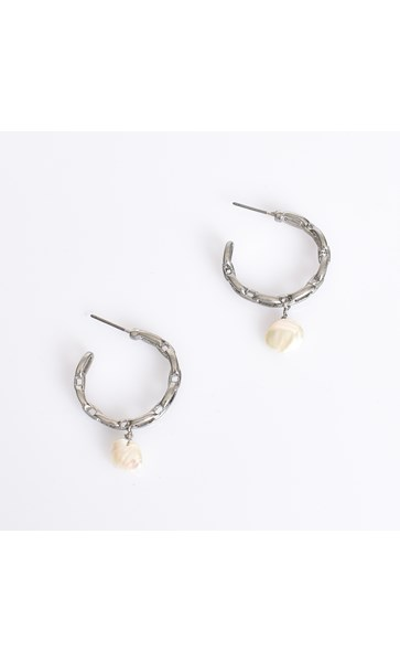 Mini Chain Pearl Drop Hoop Earrings