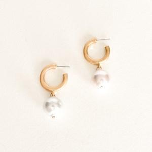 Mini Hoop Pearl Drop Earrings