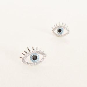 CZ Evil Eye Stud Earrings