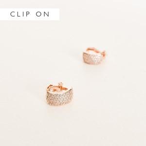 CZ Clip On Huggie Earrings