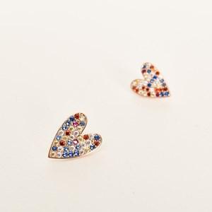 CZ Heart Stud Earrings