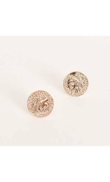 Roman Wreath Coin Stud Earrings