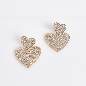 Double Heart Diamante Earrings