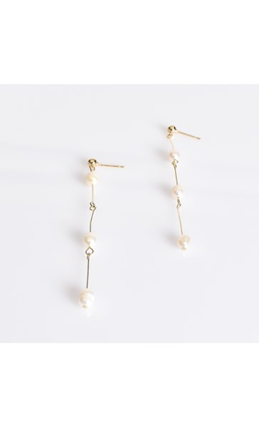 Fine Pearl & Rod Drop Earrings