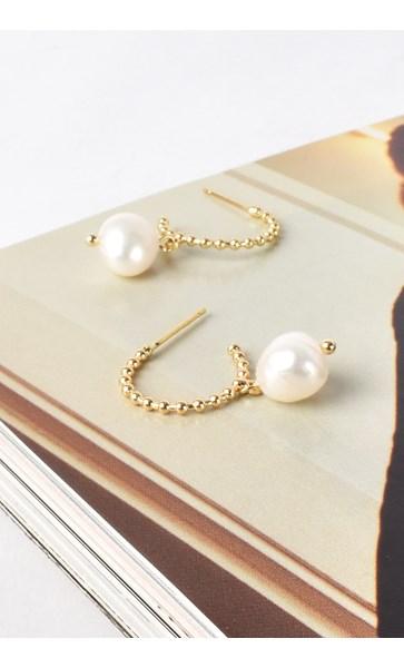 Mini Ball & Freshwater Pearl Drop Hoop Earrings
