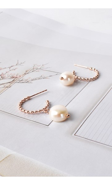 Mini Ball & Freshwater Pearl Drop Hoop Earrings
