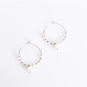 Mini Freshwater Pearl Drop Hoop Earrings