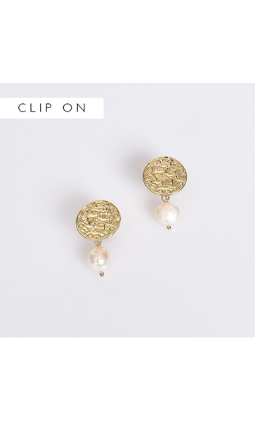 Freshwater Pearl Drop Coin Clip On  Earrings