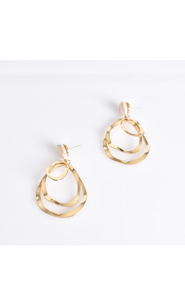 Freshwater Pearl Stud Beaten Teardrop Earrings