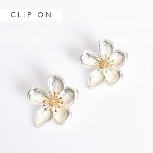 Flower Stud Clip On Earrings