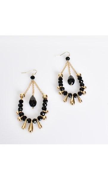 Bead & Stone Chain Drop Earrings