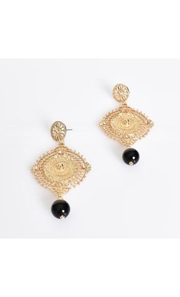 Filigree Stud & Stone Drop Earrings