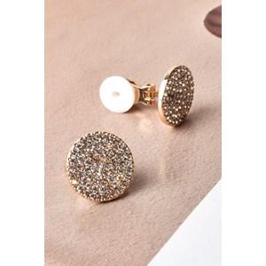 CZ Disc Clip On Earrings