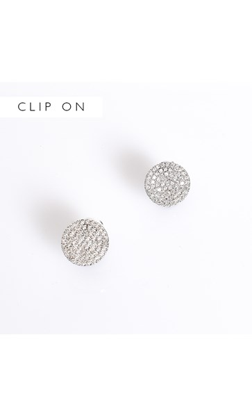 CZ Disc Clip On Earrings