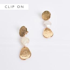 Pearl & Disc Drop Clip On Earrings