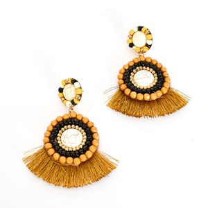 Tori Stone Bead Fringe Earrings