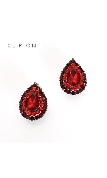 Diamante Teardrop Clip On Earrings