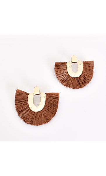 Raffia Fringe Hinged Earrings