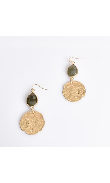 Stone Teardrop and Circle Earrings