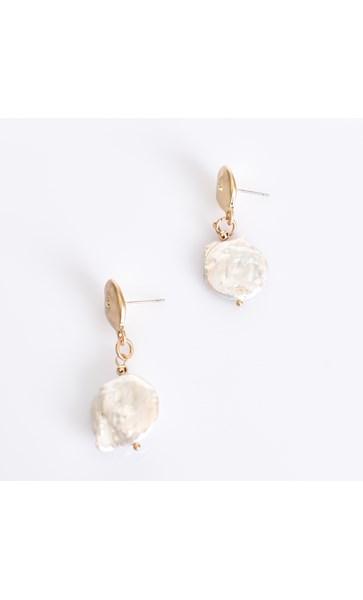 Button Pearl Drop Earrings