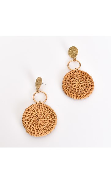 Rattan and Ancient Disc Earrings