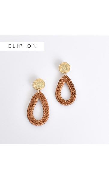 Ancient Coin Rattan Clip On Earrings